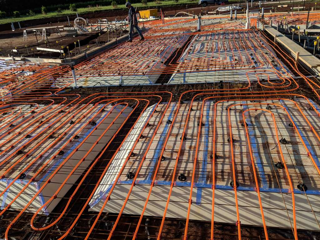 Hydrosol image showing hydronic underfloor heating circuits laid prior to the concrete pour.