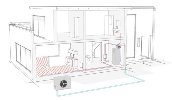 Schematic showing an underfloor hydronic heating and cooling system with a heat pump.