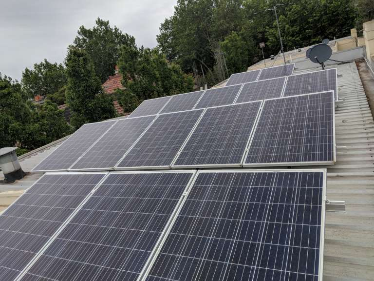 Hydrosol image of solar panel installation for solar power case study
