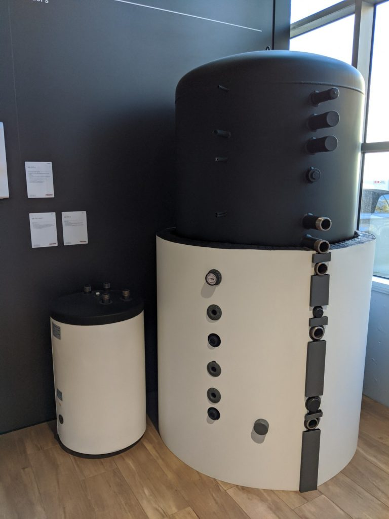 Hydrosol image of Stiebel Eltron buffer tanks, larger tanks can be used as a thermal battery.