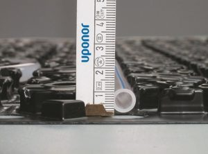 Image shows thin profile of Minitec for underfloor heating and cooling on suspended floors