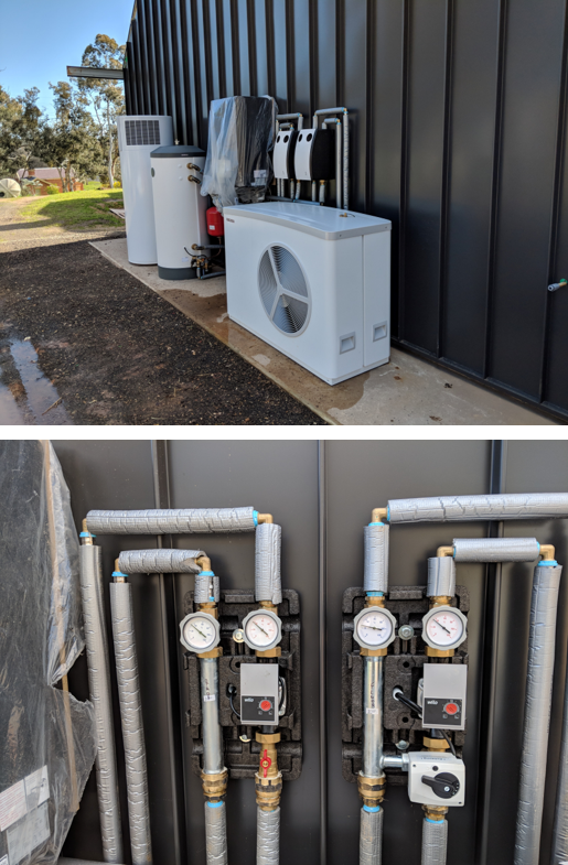 The outdoor equipment was installed outside the kitchen/dining area including two circulating pump sets.
