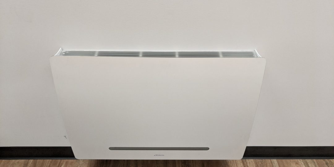 Example of an Galletti ART-U fan coil convector, which provides hydronic heating and effective cooling with chilled water below they dew point.