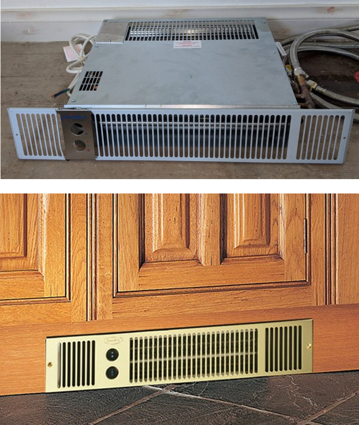 Image of hydronic space saving fan coil convector for hydronic heating and cooling. Space saving fan coils are designed for tight spaces including cabinet plinths or above cupboards and robes.
