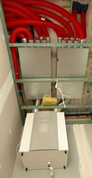 Hydrosol image of Stiebel Eltron centralised ducted HRV ventilation system installation showing the air heat exchange unit