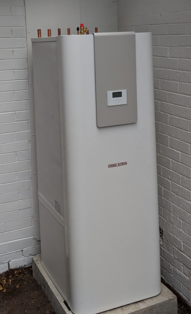 Hydrosol image of Stiebel Eltron HSBC Integrated Heating, Cooling and Hot Water Cabinet installation.